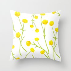 Summer Flower Pattern in Yellow and Green Throw Pillow