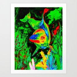 Retro Dolphin Art Print