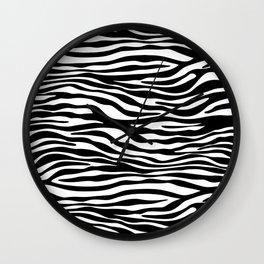 Animal Print, Zebra Stripes - Black White Wall Clock