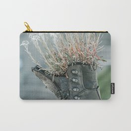 Hiking Boot With Flowers Art Print | Travel Photography | Mountain Hiking Lovers Carry-All Pouch