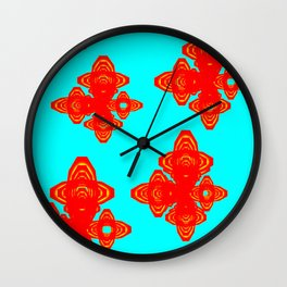 Retro Red Decorative Shapes on Turq Background Wall Clock