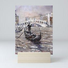 Rialto Bridge and gondolas in medieval city of Venice, Italy.  Watercolor painting of Venice. Mini Art Print