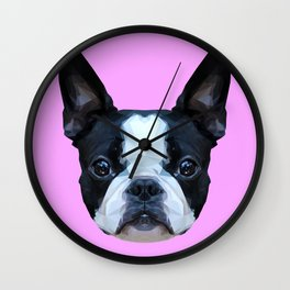 Frenchie / Boston Terrier // Lilac Wall Clock