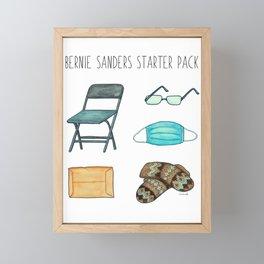 Bernie Sanders Starter Pack - Bernie Mittens Meme Watercolour Painting Framed Mini Art Print