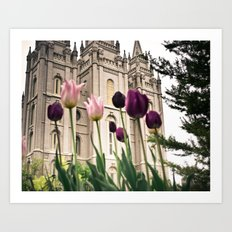 Temple Flowers Art Print