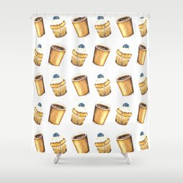 Coffee and Muffin Watercolor Pattern Shower Curtain