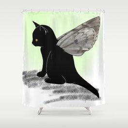 Black Kitten Fairy Shower Curtain