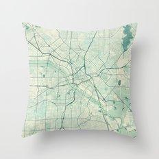 Dallas Map Blue Vintage Throw Pillow