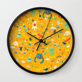 Party monsters (yellow) Wall Clock