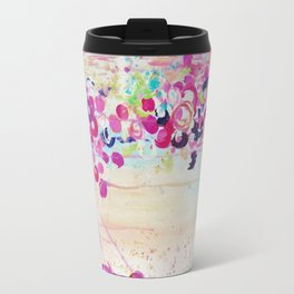 DANCE OF THE SAKURA - Lovely Floral Abstract Japanese Cherry Blossoms Painting, Feminine Peach Blue  Travel Mug