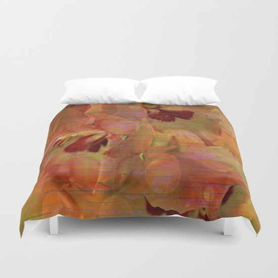 Vintage Soft Peach Glow Gladiola Abstract Duvet Cover