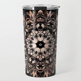Rose Gold Floral Mandala On Black Travel Mug
