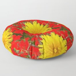 YELLOW DANDELION BLOSSOMS ON RED ORGANIC ART Floor Pillow