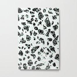 Triple Terrazzo - Mint Green Black & White Modern Speckle Pattern Metal Print