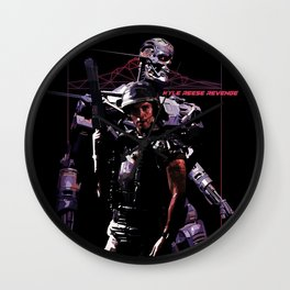 Kyle Reese Revenge Aliens Terminator 80s synthwave Wall Clock