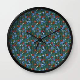 Red and turquoise flower flurry Wall Clock