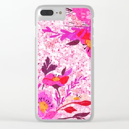 Pink Spring Flowers Mosaic Terrazzo Clear iPhone Case