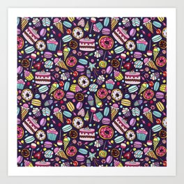 Pattern with candy, ice cream, candy, donuts, cupcake, macaroons and other sweets Art Print