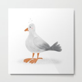 Cute light Gray Cartoon Seagull Metal Print