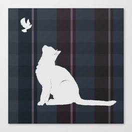 Cat and Bird in Blue Canvas Print