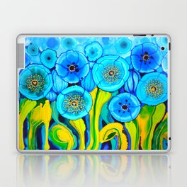 Field of Blue Poppies with Top and Bottom Border Belize Laptop & iPad Skin