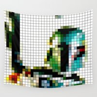 boba fett Wall Tapestries featuring Boba Fett Vintage Pixels by Stuff.