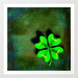 Four Leaf Clover on Green Textured Background Art Print