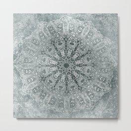 big paisley mandala monochrome pale mint Metal Print