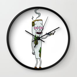 Joint smoking a person Morty and Rick Wall Clock