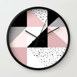 Geometrical pink black gray watercolor polka dots color block Wall Clock