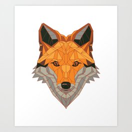 Polygonal Geometric Fox Art Print