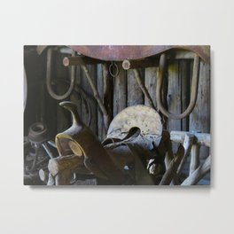 Rustic Saddle Metal Print