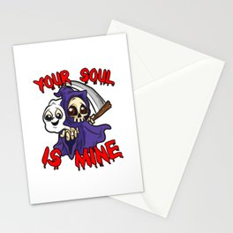Your Soul Is Mine Funny Reaper Humor Stationery Cards