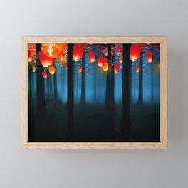 Lantens in  Blue Forest Framed Mini Art Print
