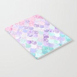 Cute Mermaid Pattern, Light Pink, Purple, Teal Notebook