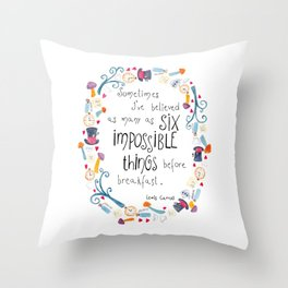 Alice in Wonderland - quote in wreath Throw Pillow