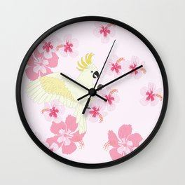 Polly's Pink Hibiscus Party Wall Clock