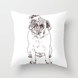 Pug the little dog as a gift for lovers Throw Pillow
