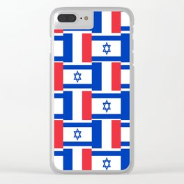 Mix of flag: france and israel Clear iPhone Case
