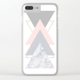 Blush Marble Gray Gold Geometric Pattern Clear iPhone Case