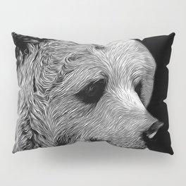 kodiak brown bear vector art black white Pillow Sham