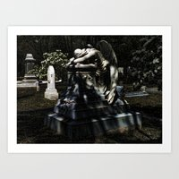 Weeping Angel by Moonlight Art Print