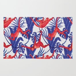 red monkey blue leaves pattern Rug