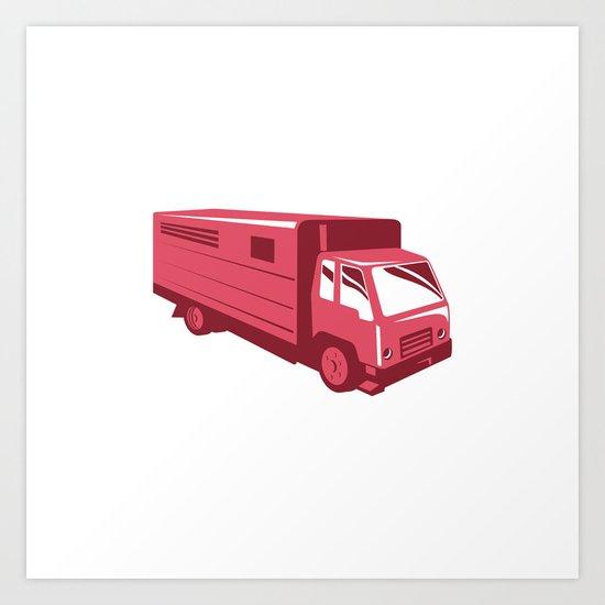 horse truck trailer retro Art Print