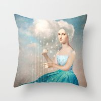 rain Throw Pillows featuring Melody of Rain by Christian Schloe