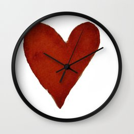 Hand-painted Watercolour red heart Wall Clock