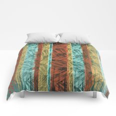 Tribal Scratch Stripes Orange Turquoise Straw Yellow Comforters