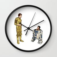 c3po Wall Clocks featuring C3PO & R2D2 by joshuahillustration