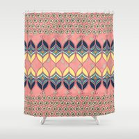 boho Shower Curtains featuring Boho Daisy by RED ROAD STUDIO