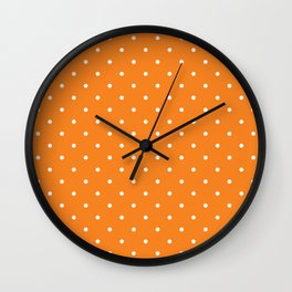 Small White Polka Dots with Orange Background Wall Clock